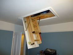 New loft hatch put in for you to make your life easier getting up your loft, all done in about 4 hours, for only Loft Spaces, Storage Spaces, Storage Cabinets, Man Cave, Loft Ladders, Wall Lights, New Homes, Loft Ideas, Shelves