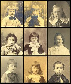 """Having a hard time telling the boys from the girls in your vintage photos? Children of both genders wore dresses, long hair, ribbons and curls in the 1800s and early 1900s. If the child has a """"BOW"""" at the neck of any size, it's likely to be a boy!...These photos are all of boys."""