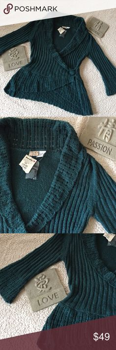 """Buckle 3/4 sleeve crochet faux wrap sweater Gorgeous crochet trim detailing! Acrylic/polyester/nylon blend is really soft too! Size large but first more like a medium. Measures approximately 15"""" across the chest and 26"""" long. Beautiful teal green color. Excellent condition. Never worn. Buckle Sweaters"""