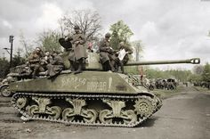 Soviet American made M4A2 (76) Sherman tank from the 8th Guards Mechanized Corps, the 1st Guards Tank Army, the 1st Belorussian Front in the German town of Grabow 1945