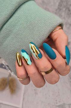 Teal Nails, Maroon Nails, Bling Nails, Stylish Nails, Classy Nails, Trendy Nails, Long Nail Designs, Nail Art Designs, Fancy Nails Designs