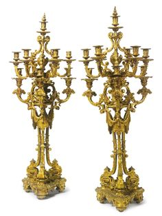 A large pair of Napoléon III gilt-bronze ten light candelabra<br>France, third quarter 19th century | Lot | Sotheby's