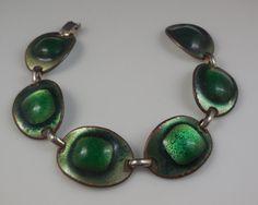 Vintage 1960s Kay Denning Modernist Emerald Enamel by TheFoxyMomma
