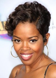 Hairstyles For Relaxed Black Hair | Malinda Williams at the 2008 BET Awards in Hollywood, California.