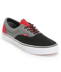 Vans Era Black, Castle Rock, & Red Skate Shoe