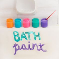 Bath paint 1/4 cup shampoo/ or hand soap/ or body wash (use whatever soapy thing you have lying around, great use for shampoo you didn't like, or the end of the body wash) 1/4 cup corn starch 1-2 TBS water 3-4 drops food coloring