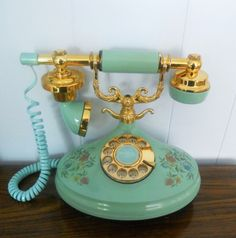 Aqua and Floral Empress Phone in Princess Style