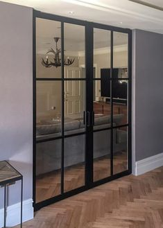 Double crittall style Interior door made from anodized aluminium with invisib. Internal Double Doors, Double Glass Doors, Double Sliding Doors, Double Doors Interior, Sliding Glass Door, Interior Door, Indoor Sliding Doors, Indoor Glass Doors, Living Room Sliding Doors