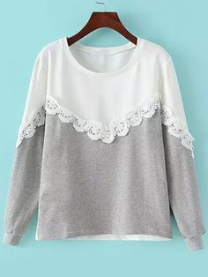 Shop Grey White Round Neck Lace Loose Sweatshirt online. SheIn offers Grey White Round Neck Lace Loose Sweatshirt & more to fit your fashionable needs.