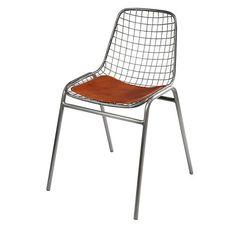 Picpus - Chaise en métal et cuir de vachette camel