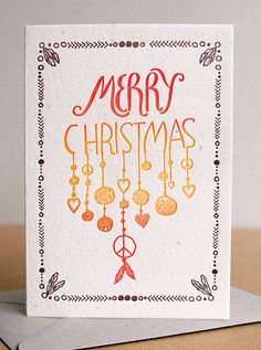 christmas card, letterpress, hand made, plantable paper, tribal design card, hand drawn card, recycled envelope, peace, hippy card