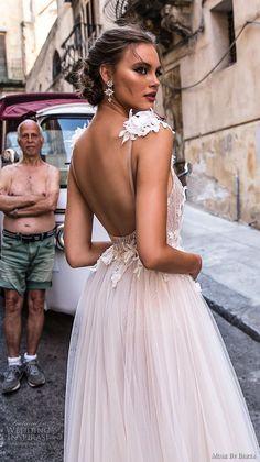 muse berta 2018 bridal sleeveless deep v neck heavily embellished high slit tulle skirt sexy romantic soft a line wedding dress open back chapel train (7) zbv -- Muse by Berta 2018 Wedding Dresses