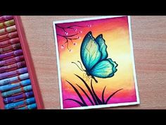 Easy Butterfly Scenery Drawing with Oil Pastels - Step by Step - YouTube