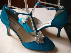 Chaussures de mariage Teal mi talons Vintage style par NewBrideCo