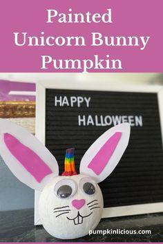 Unicorn Bunny Pumpkin No Carve Animal Crafts For Kids, Halloween Crafts For Kids, Easter Crafts For Kids, Diy For Kids, Halloween Party, Ghost Crafts, Bunny Crafts, Unicorn Pumpkin, Monster Crafts