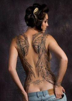 Lovely angel wihgs tattoo for girls