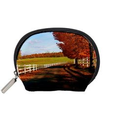 Autumn+Trees+On+Country+Road+Accessory+Pouch+(Small)