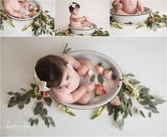 Milk bath with flowers and eucalyptus - One Year and cake smash session ending with a milk bath. Baby photographer Brittanie Brown - studio located in Georgetown, KY.
