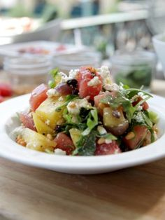 Watermelon Salad with Pomegranate Vinaigrette : Recipes : Cooking guide cooking tips Picnic Side Dishes, Side Dishes For Bbq, Summer Side Dishes, Veggie Dishes, Side Dish Recipes, Food Dishes, Fruit Dishes, Healthy Summer Recipes, Summer Salad Recipes