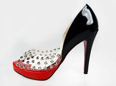 Christian Louboutin Spiked Black Patent Peep-toe Pumps