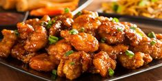 Chicken General Tao to maple, delicious and ready in 30 minutes to paint . Crock Pot Chinese, Chinese Chicken, Sweet N Sour Chicken, Orange Chicken, Poulet General Tao Ricardo, Glazed Chicken, Chicken Wings, Chicken Breasts, Fried Chicken