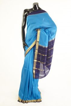 Mysore Crepe- crepe pure silk turquoise blue saree  without blouse