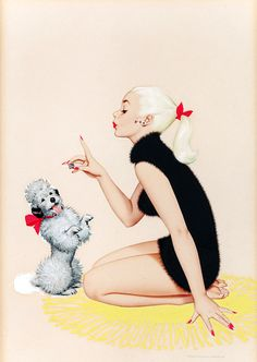 A Pin-up and her Poodle ~ Archie Dickens, ca. Pin Ups Vintage, Retro Vintage, Vintage Black, Vintage Style, Pin Up Illustration, Estilo Pin Up, Calendar Girls, Pin Up Style, Pin Up Girls