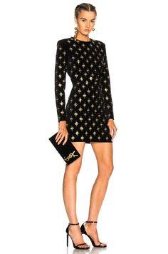 Balmain Crystal And Eyelet-embellished Velvet Mini Dress In Black Gold Balmain Dress, Eyelet Dress, Black Cotton, Latest Fashion Trends, Classic Style, Velvet, Stylish, Mini, Roland Mouret