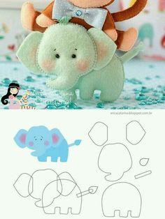 Elephant (with instructions) ・ ☆ ・ .- Elefant 🎀 (mit Anleitung)・☆・ Elephant 🎀 (with instructions) ・ ☆ ・ - Baby Crafts, Felt Crafts, Fabric Crafts, Sewing Crafts, Sewing Projects, Felt Patterns, Craft Patterns, Felt Fabric, Fabric Dolls