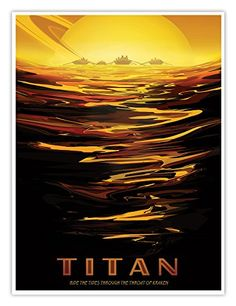 Art Print: Titan - Ride the Tides Through the Throat of Kraken by Pacifica Island Art : Space Tourism, Space Travel, Nasa, Kraken Art, Banksy Graffiti, Tourism Poster, Thing 1, Vintage Space, Digital Museum