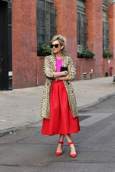 Love the leopard coat with red skirt. Not wild about the magenta top. I would wear with black or cream top.