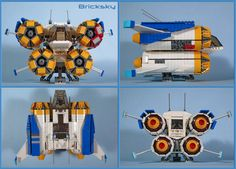 https://flic.kr/p/J3oYPc | Quad Jumper | Details 5-8  Engines, passenger compartment, and landing gear all attached to sturdy interior technic beam system.