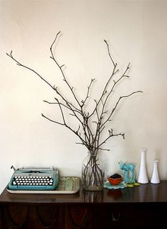 I love decorating with branches! They look cool and best of all, their free!