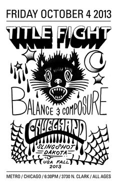 Title Fight // Balance and Composure Tour Posters, Concert Posters, Typography Design, Tours, Slingshot, Poster Ideas, Pop Punk, Concerts, Emo