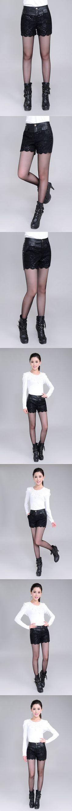 Automne et hiver femmes Sexy Black PU taille haute short minces PU Shorts de cuir Shorts Casual Sexy dentelle short Mujer dans Shorts de Femmes de Vêtements et Accessoires sur AliExpress.com | Alibaba Group