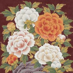 Acrylic Painting Flowers, Matte Painting, Ink Painting, Korean Painting, Chinese Painting, Blue Peonies, Korean Art, Nature Prints, Pictures To Draw
