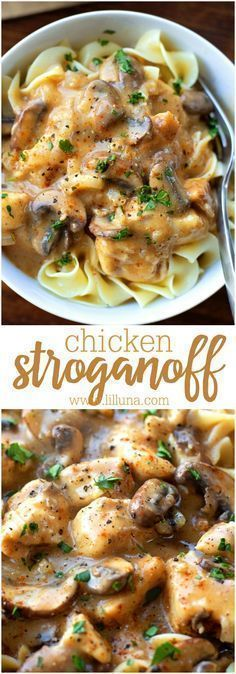 Homemade Chicken Stroganoff - this stuff is so delicious and is a recipe perfect for dinner any night. Tastes better than restaurant Stroganoff!
