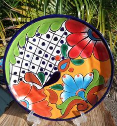 "Talavera Mexican pottery lunch salad plate 8"" hand painted Lead Free + Italy CD"