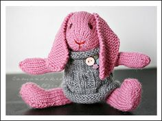 pink knit bunny | Download Free Knit Patterns - Free Knitting Patterns