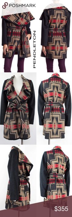 """Pendleton Harding Cashmere Blanket Wrap Coat N54 Pendleton Women's Harding Navajo Blanket Style Wrap Shawl Collar. Long sleeves, Self-tie belt closure, Allover Western Print, Side seam pockets, Unlined Body, Lined Sleeves Retails $550 Size: L Large  Shoulder: 17""""  Sleeves: 26""""  Pit to Pit: 27""""  Length: 36.25""""  Condition: NWT  Material: Wool Cashmere Blend & Faux Suede Trim Country: China Style #: P9955 Care: Dry Clean WT: 2.04 CSKU: N54; 60 Jacket on model is for styling/fit reference only…"""