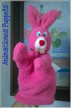 Títere de manopla, conejito rosa