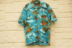 Vintage 70s Hawaii Shirt Surfer Beach Tropical by SycamoreVintage