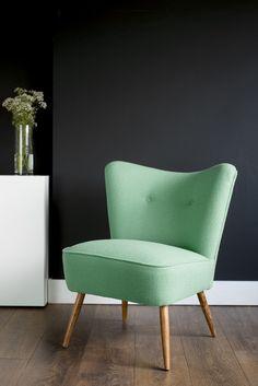 Vintage Cocktail Chair in Mint Green Bute Wool. Photo copyright Florrie+Bill www.florrieandbill.com