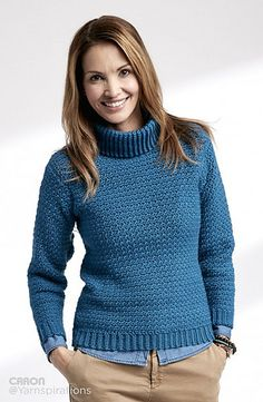 Curl up with the good book and stay warm this fall in our Turtleneck Pullover crocheted in Caron Simply Soft.