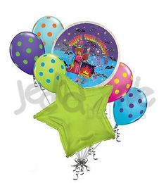 7 pc Lisa Frank Witch Balloon Bouquet Party Decoration Happy Halloween