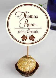 Wedding Reception Ferrero Rocher Escort Cards /  Place Cards / guests name cards / placecards / brown / bronze / leaf / leaves / autumn