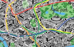 This beautiful and very detailed map of London was hand drawn by British illustrator Jenni Sparks. It can be purchased at Evermade. This hand drawn map of London Map, Paris Map, West London, Hyde Park, Sparks Design, Create A Map, Kensington And Chelsea, Tourist Map, City Maps