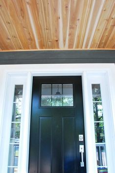 Step by step tutorial on how to DIY a cedar lined porch ceiling Porch Curtains, Porch Ceiling, Plank Ceiling, Front Porch Steps, Screened In Porch, Porch Swing, Front Entry, Soffit Ideas, Bathroom Ceiling Light