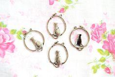 Miniature Cat Charms  Antique Silver Cat by TaikalandiaSupplies
