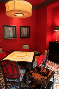 love the intense color Mahjong Table, Decor Interior Design, Interior Decorating, Space Games, Asian Furniture, New Chinese, Space Interiors, Entertainment Room, Common Area